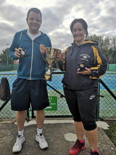Callum Jones & Vickie Wright holding the Duston Cup